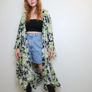 Vintage 90s black and green tropical floral kimono